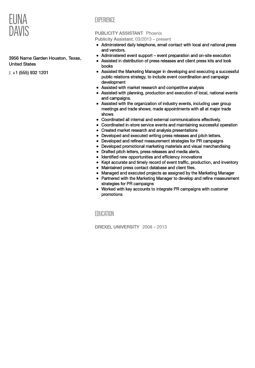 Publicity assistant sample resume