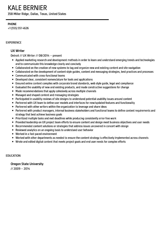 ux writer resume sample