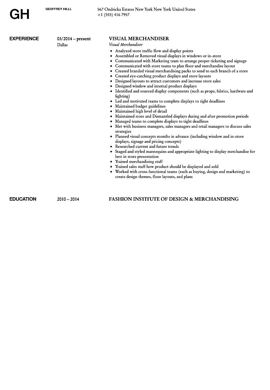 Fashion merchandising resume examples