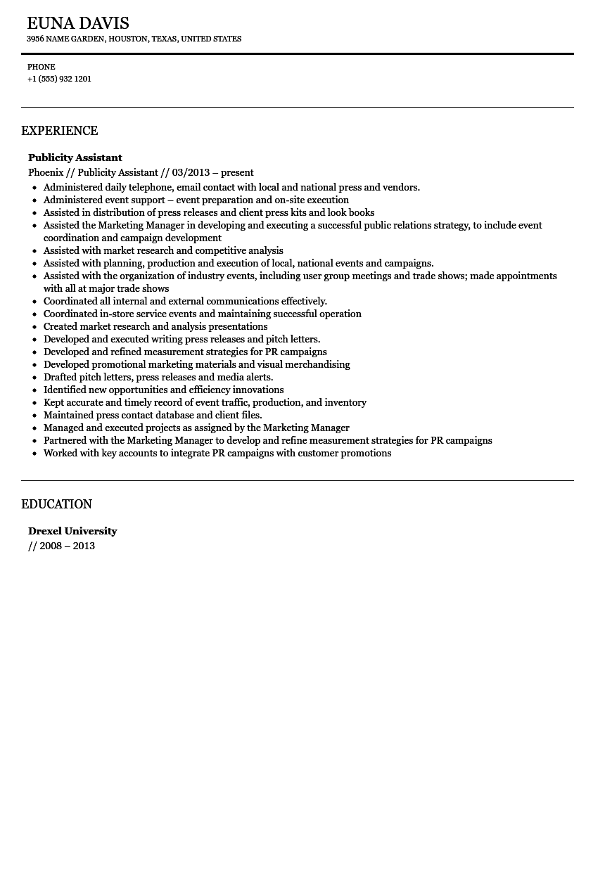 Publicity Assistant Resume Sample