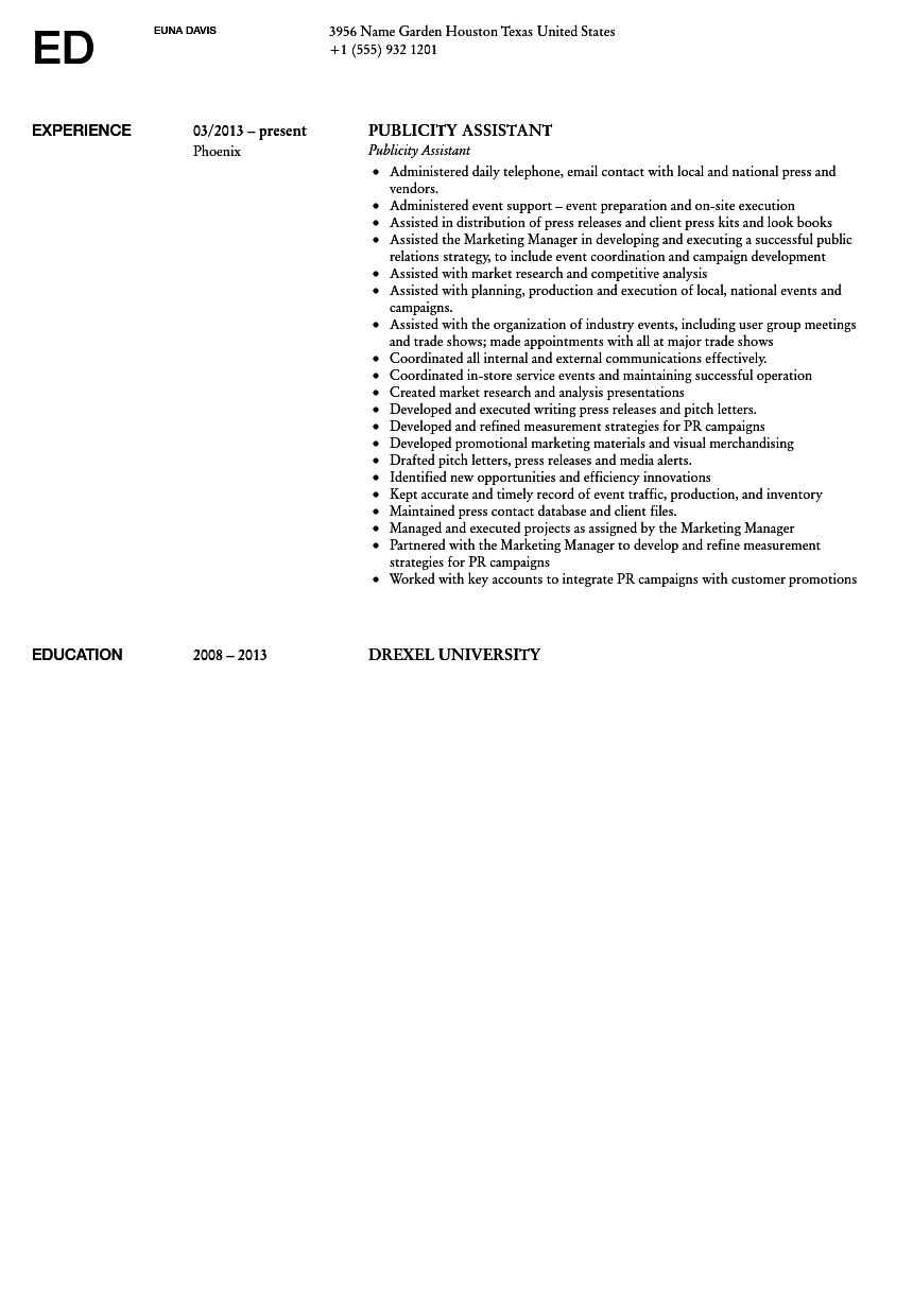 publicity assistant resume sample - Publicity Assistant Sample Resume