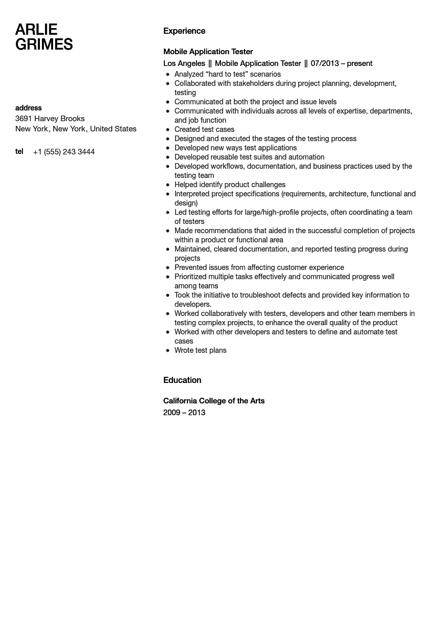 mobile application tester resume sample velvet jobs - Gui Testing Resume
