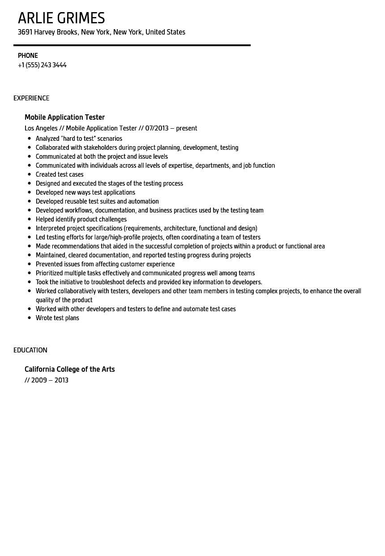 Mobile Application Tester Resume Sample | Velvet Jobs