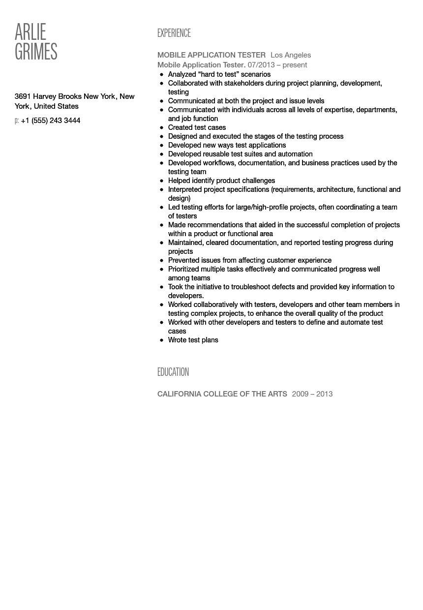 Mobile Application Tester Resume Sample