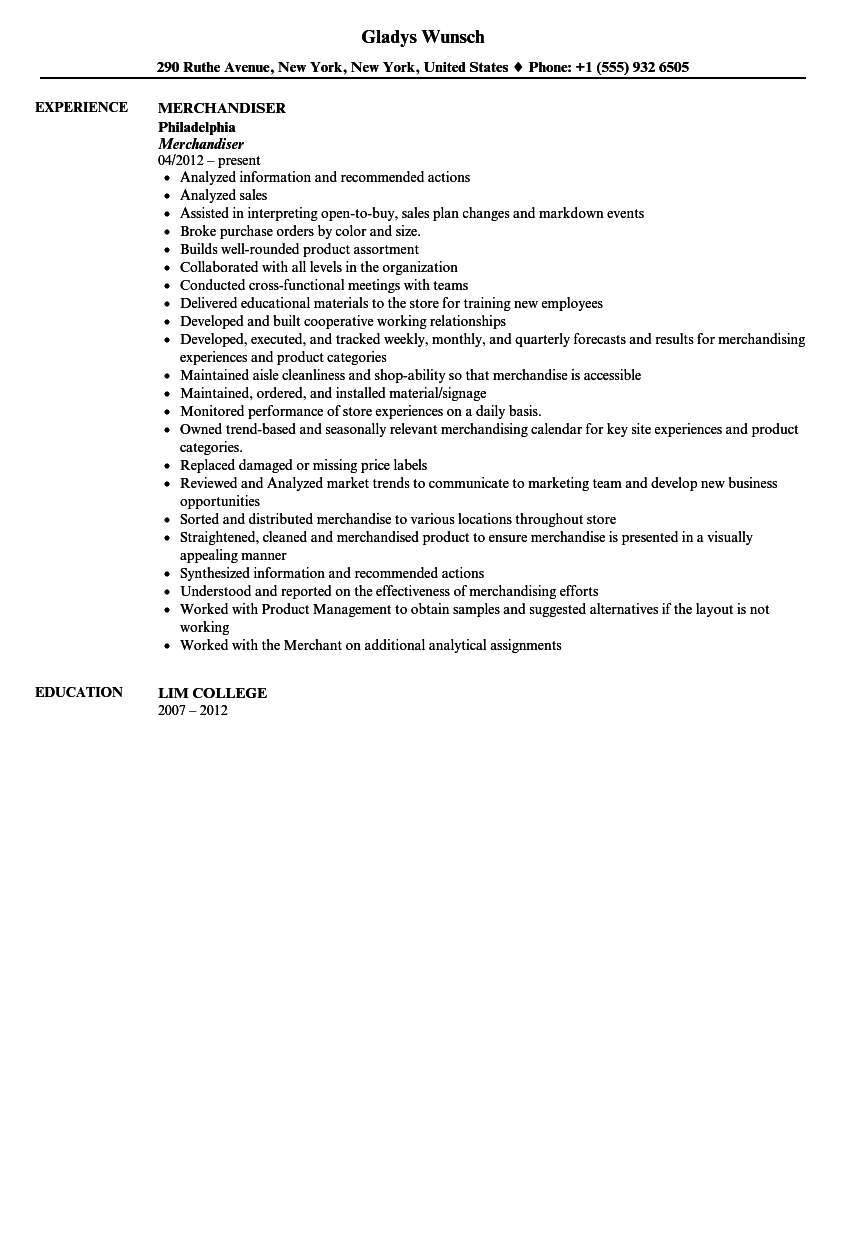 merchandiser resume sample - Job Description For Merchandiser
