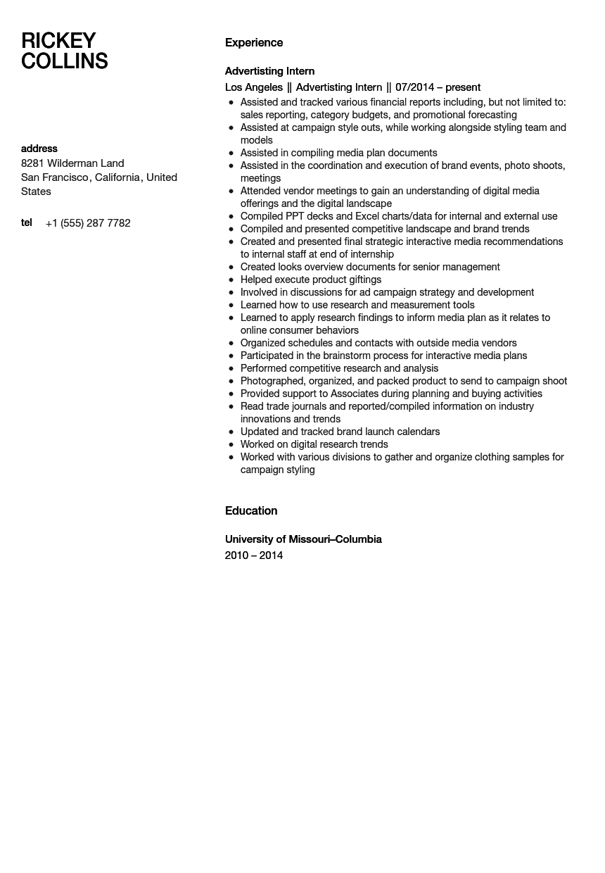 Advertising Intern Resume Sample