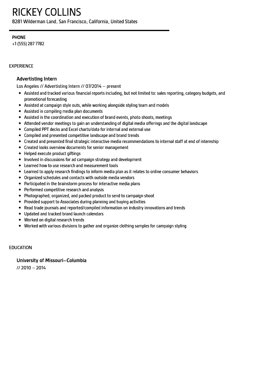 Advertising Intern Resume Sample Velvet Jobs