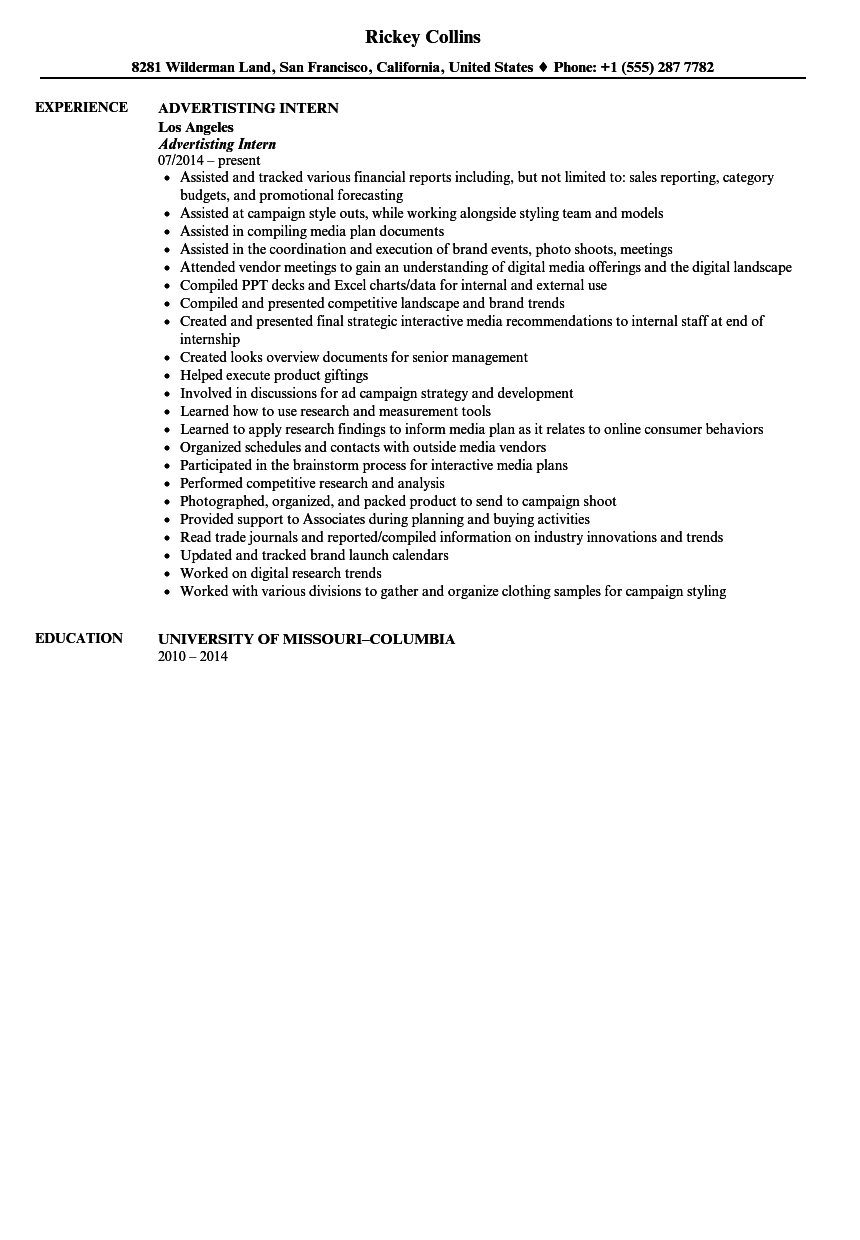 Advertising Intern Resume Sample | Velvet Jobs