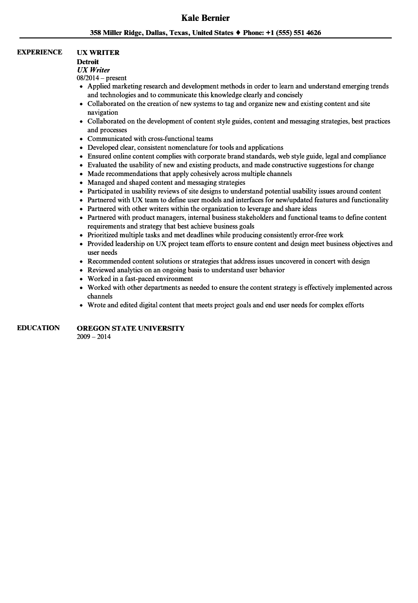 ux writer resume sample velvet jobs