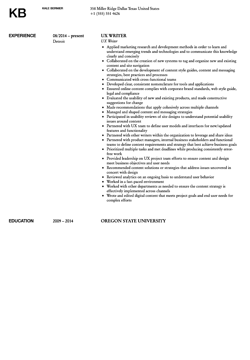 UX Writer Resume Sample