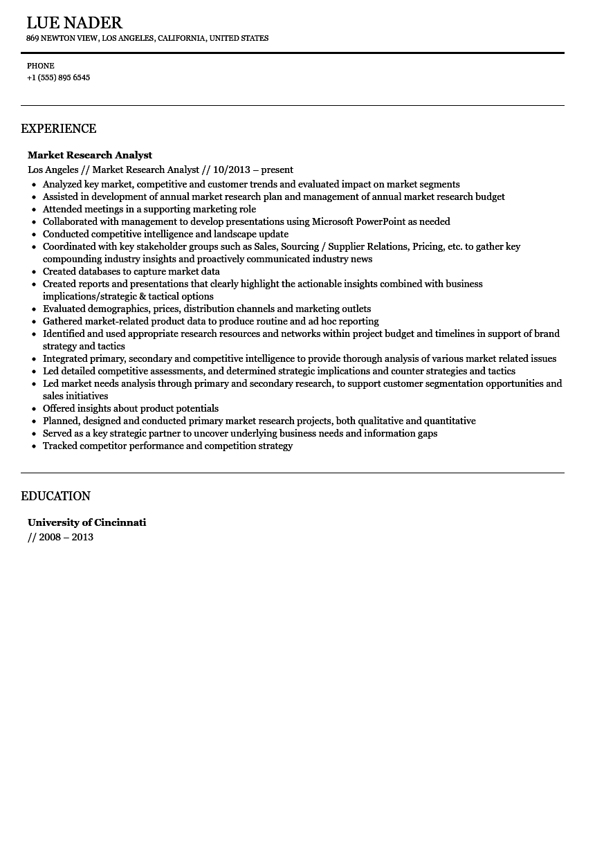 market research resume sample sample resume canada format resume