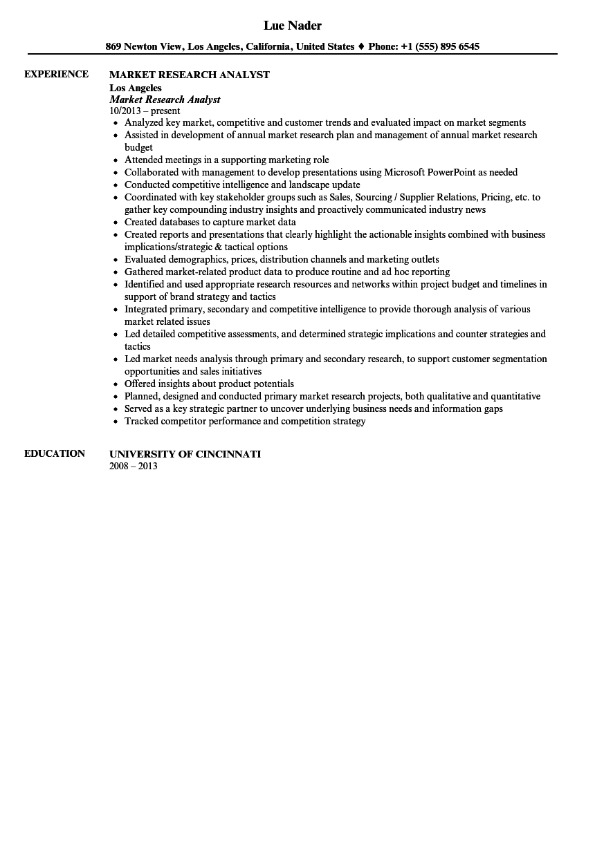 market research analyst resume sample - Market Research Resume Sample
