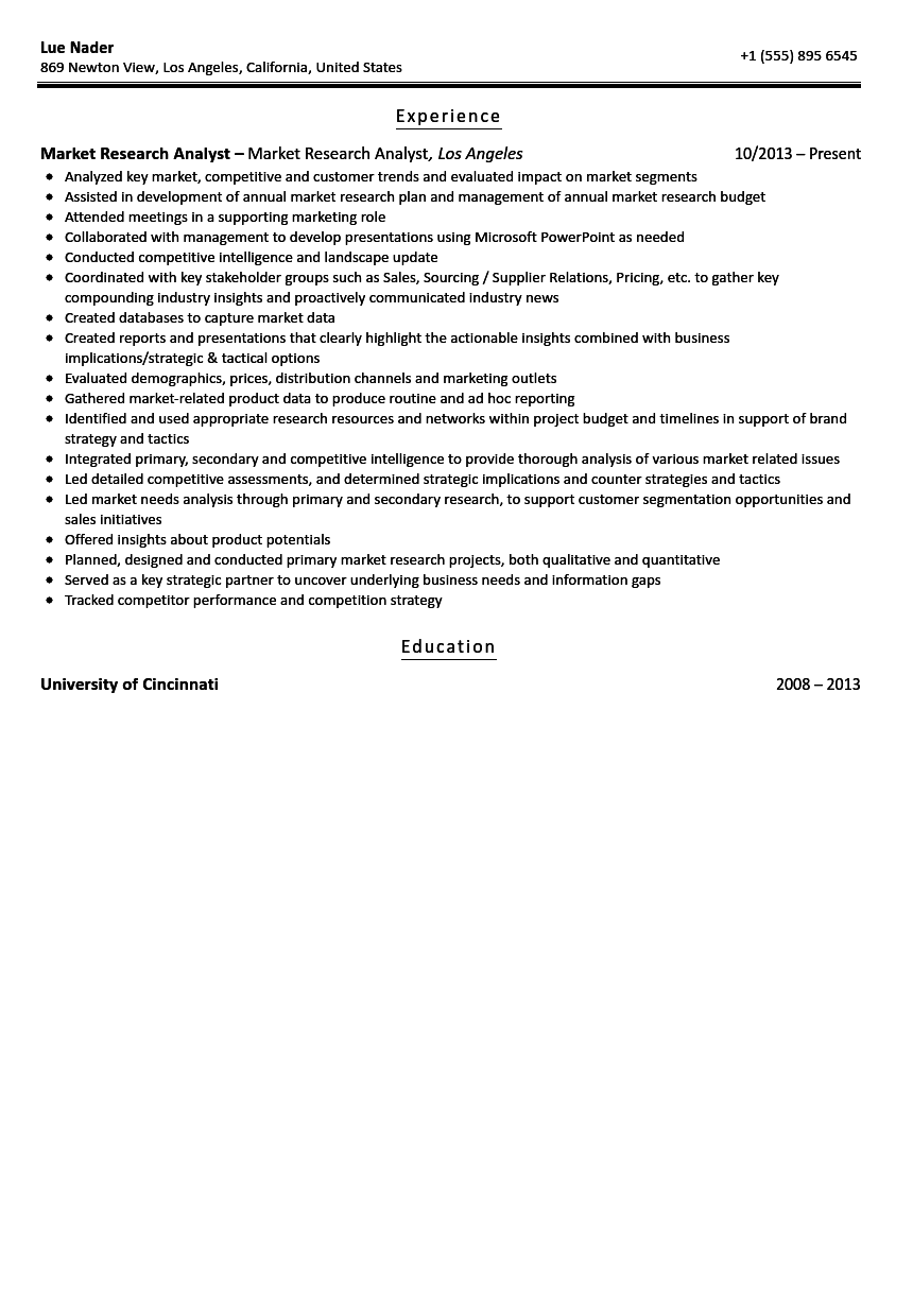 Market Research Analyst Resume Sample