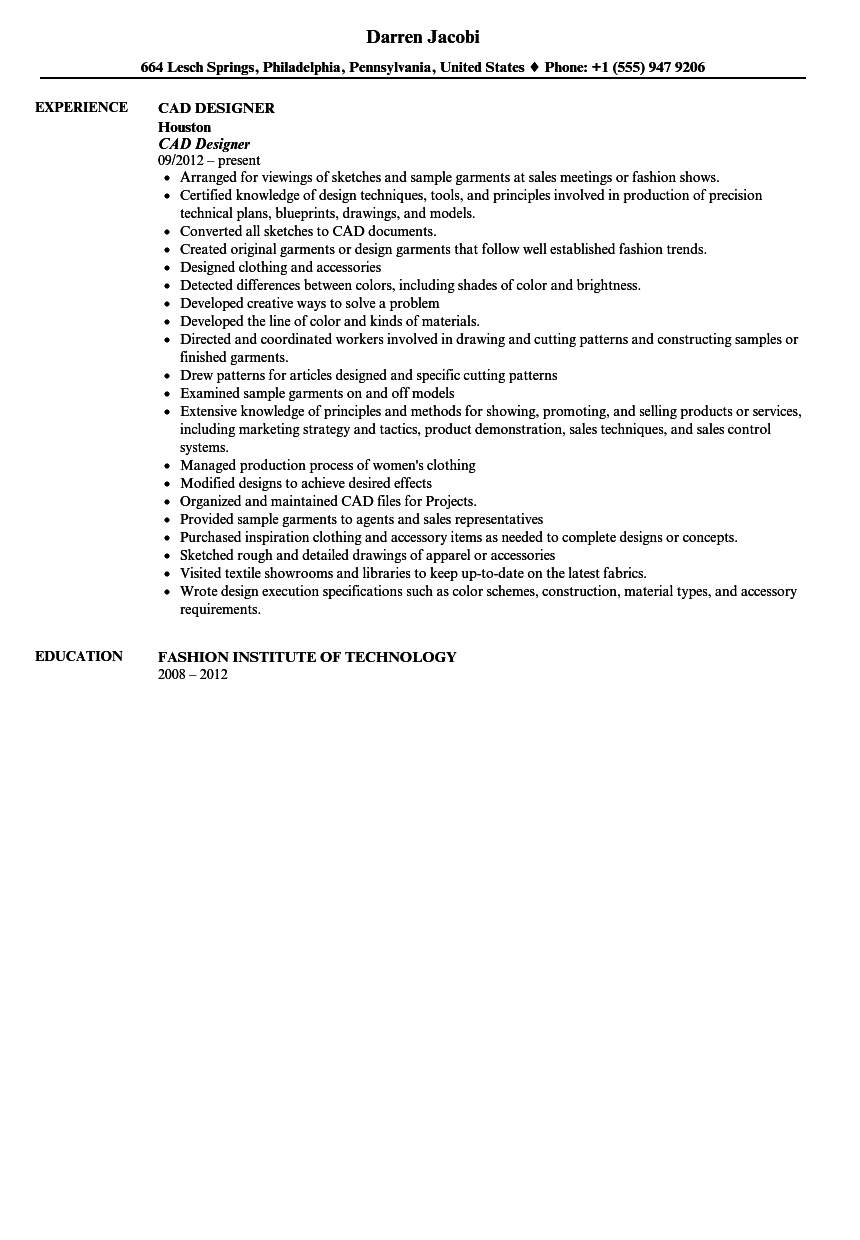 CAD Designer Resume Sample