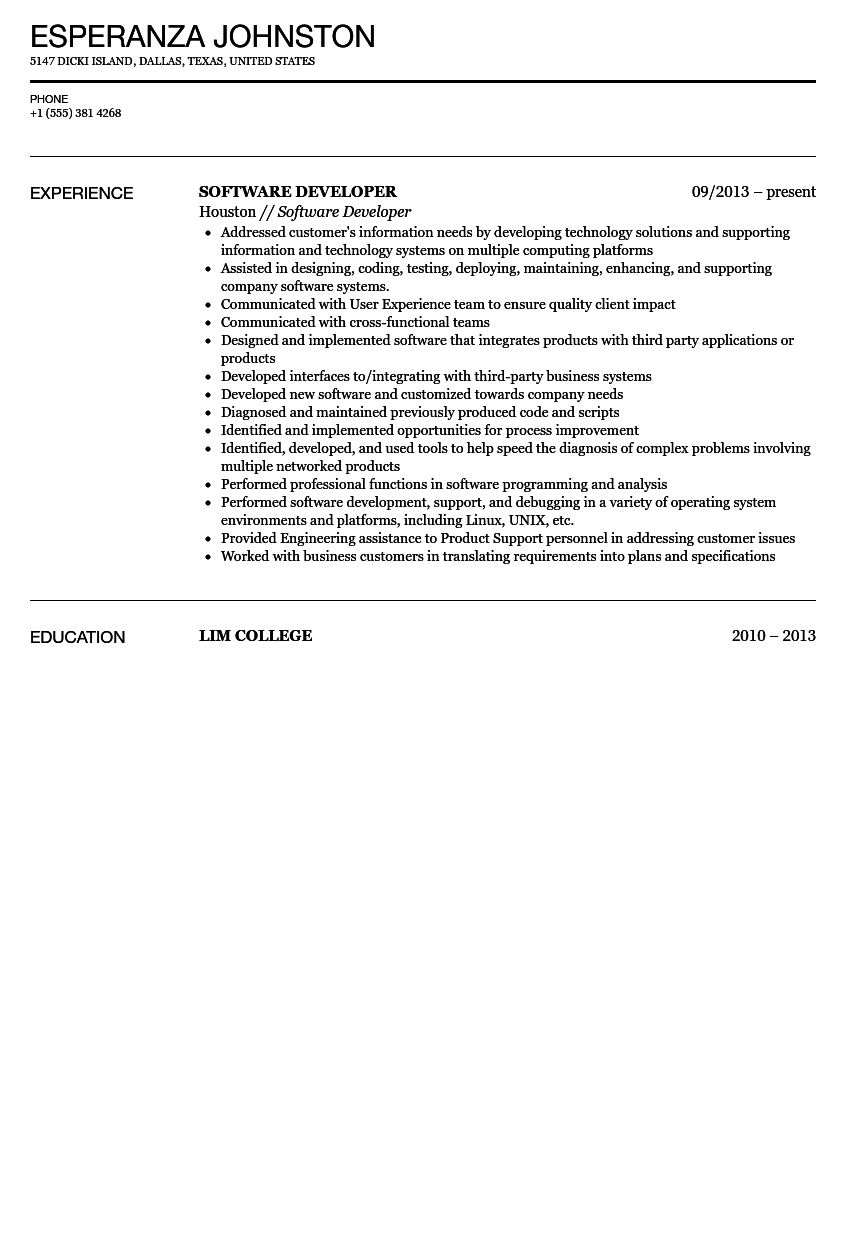 Software Developer Resume Sample
