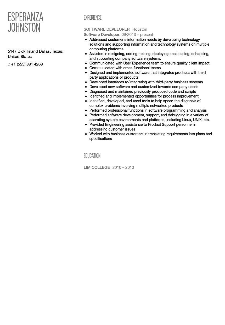 Software Developer Resume Sample  Software Developer Resume Sample