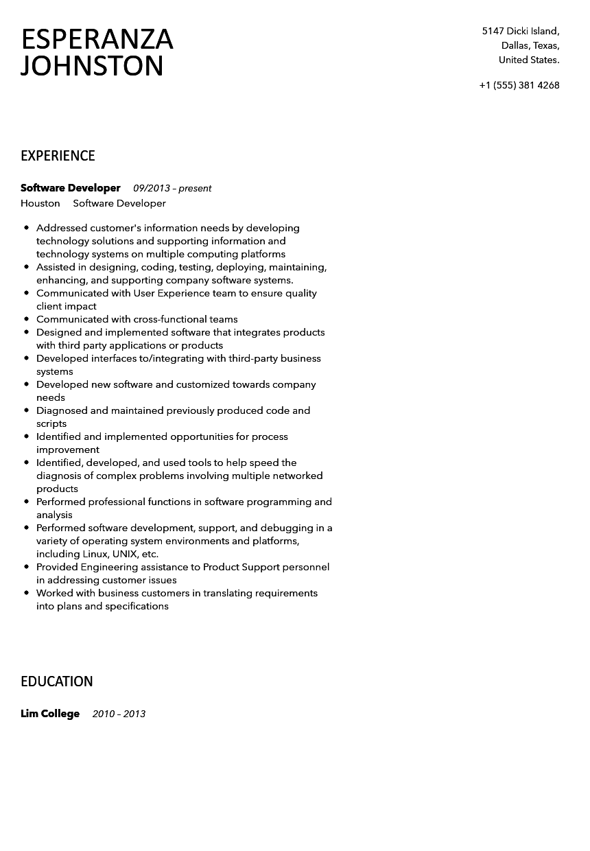 Software Developer Resume Sample Velvet Jobs