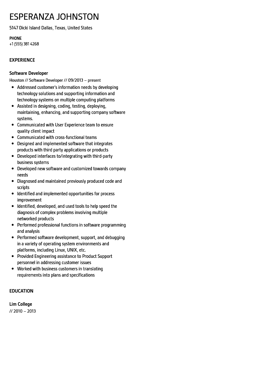Software Developer Resume Sample  Sample Software Developer Resume