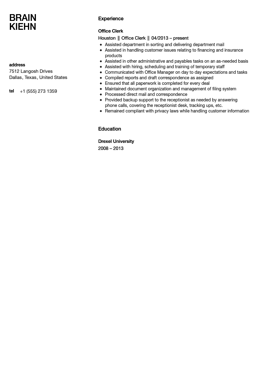 office clerk resume sample - Resume Sample For Admin Clerk