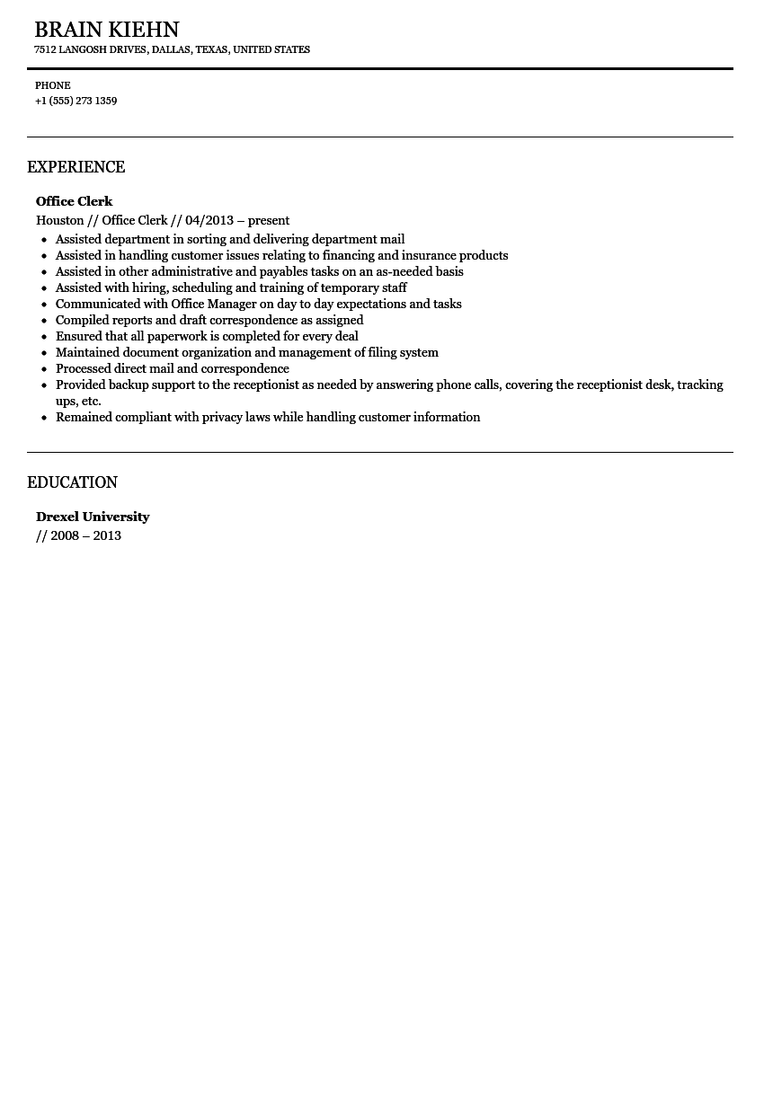 Office Clerk Resume Sample