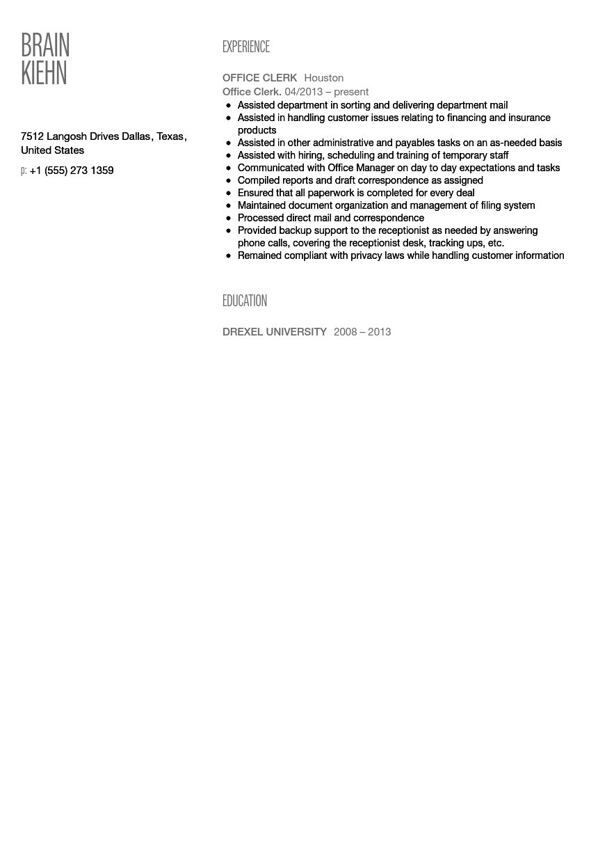 Exceptional Office Clerk Resume Sample