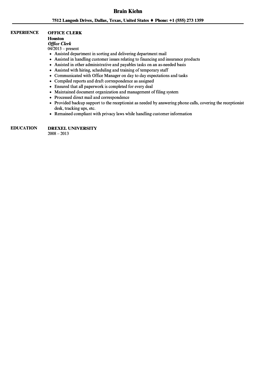 office clerk resume sample velvet jobs