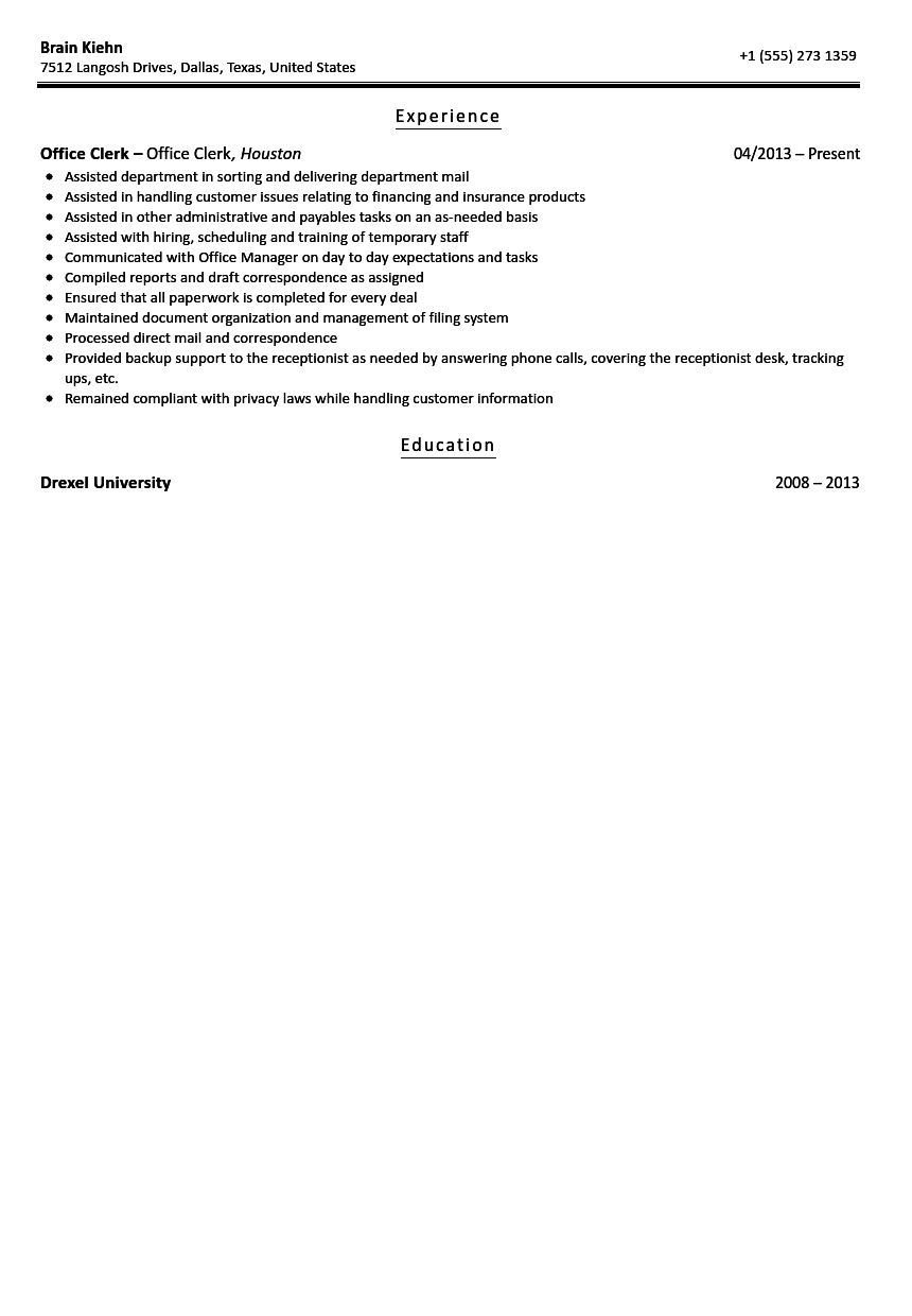 Amazing Office Clerk Resume Sample Design Ideas