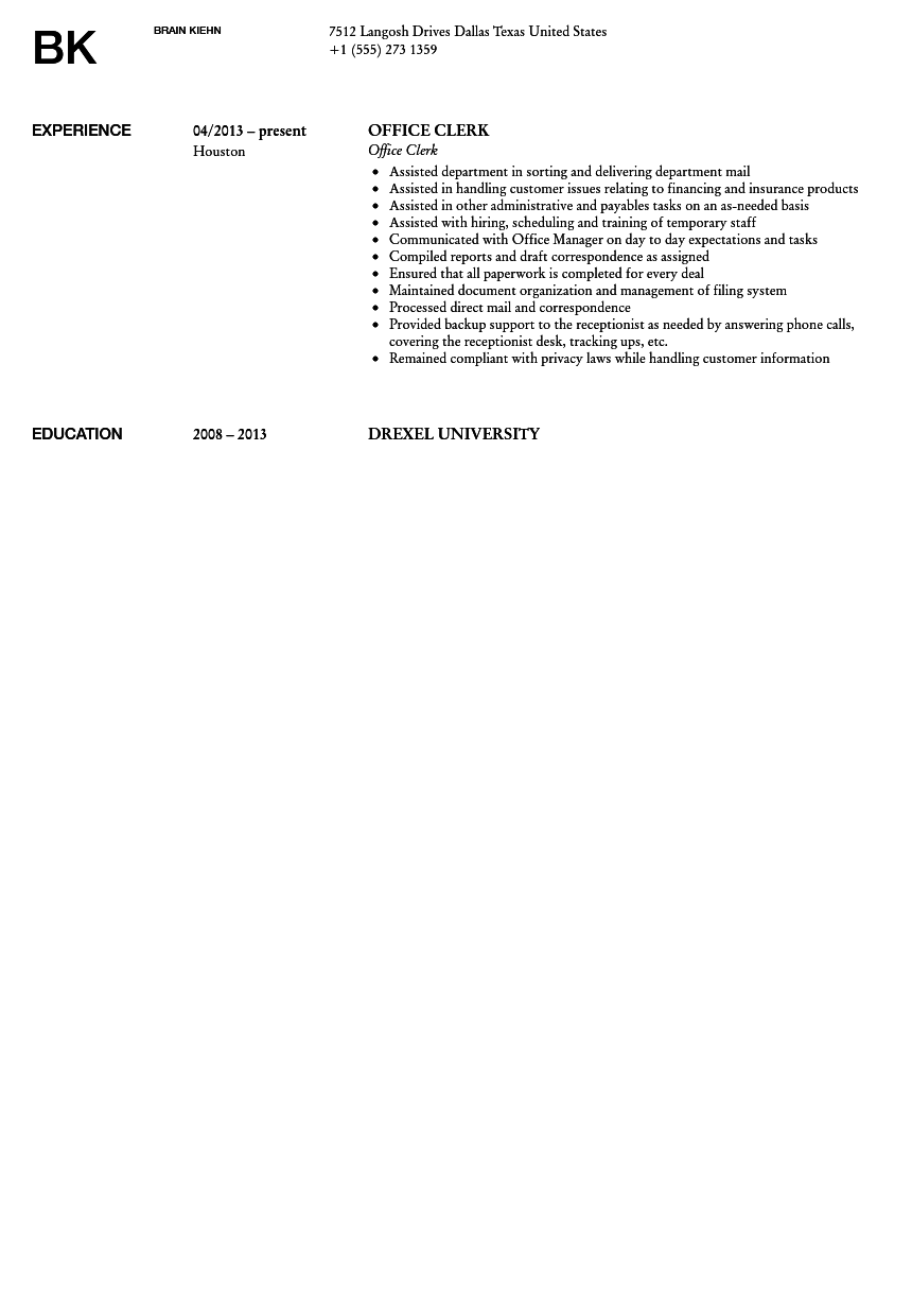 sample clerk resume accounting clerk resume sample postal clerk
