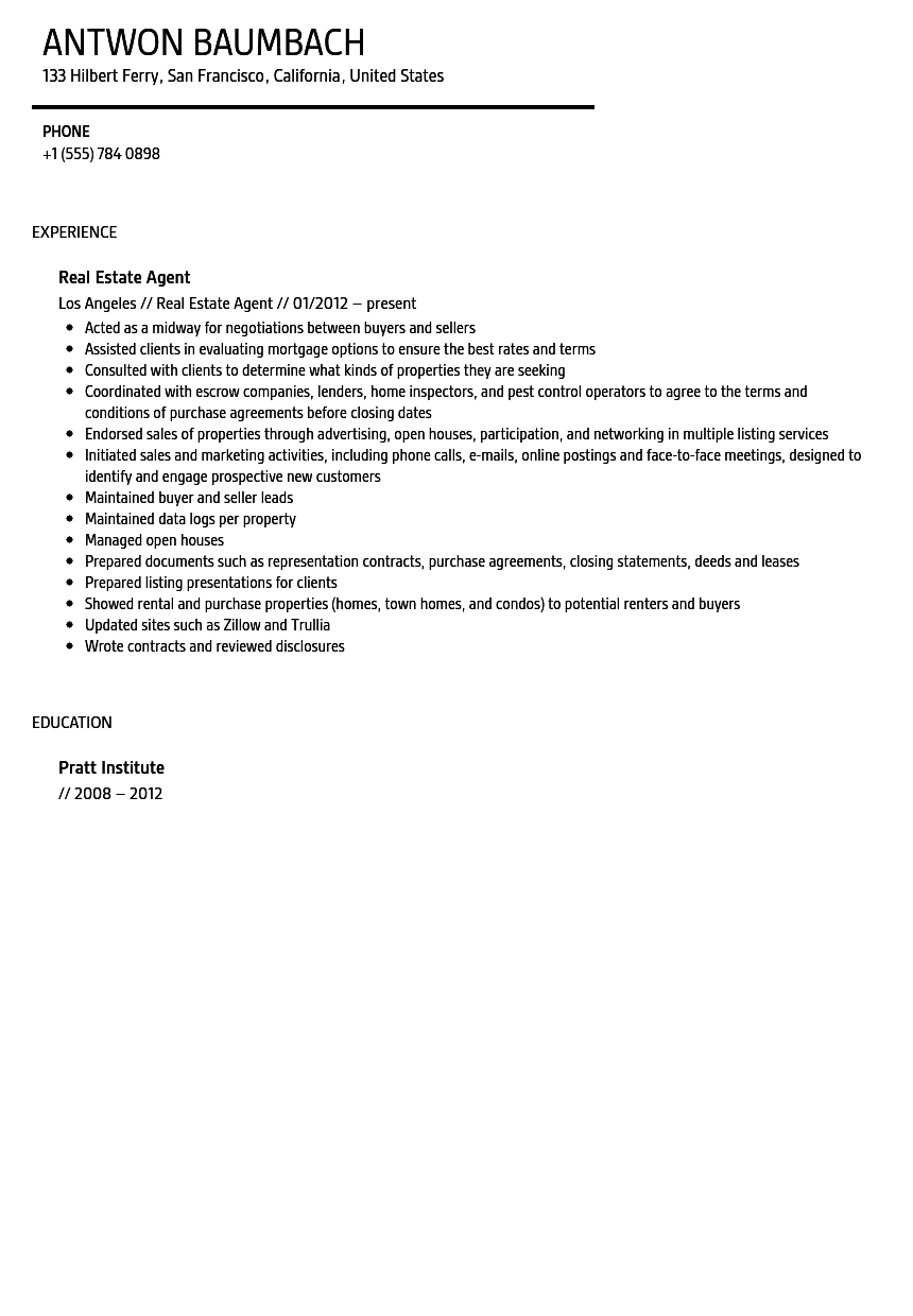 Real Estate Agent Resume Sample | Velvet Jobs