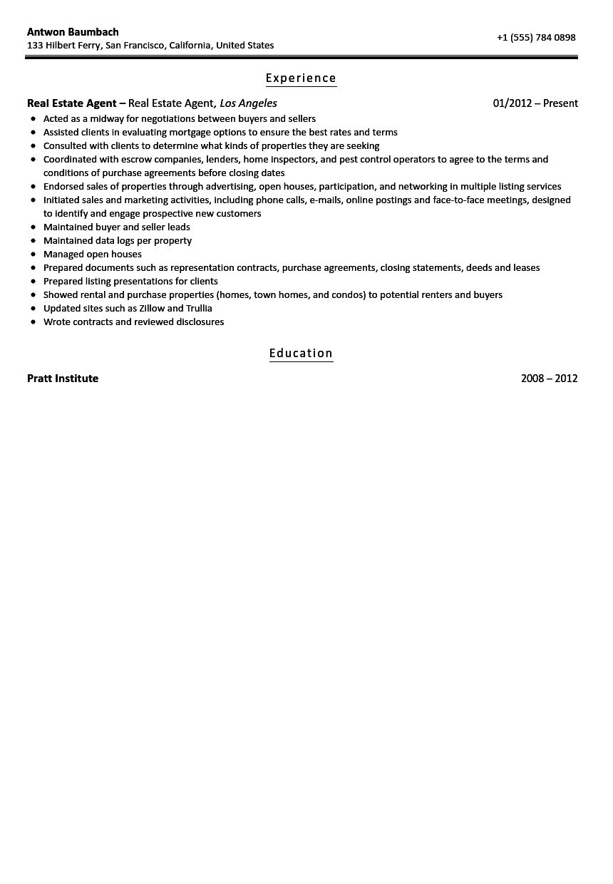 Real Estate Agent Resume Sample  Real Estate Agent Resume