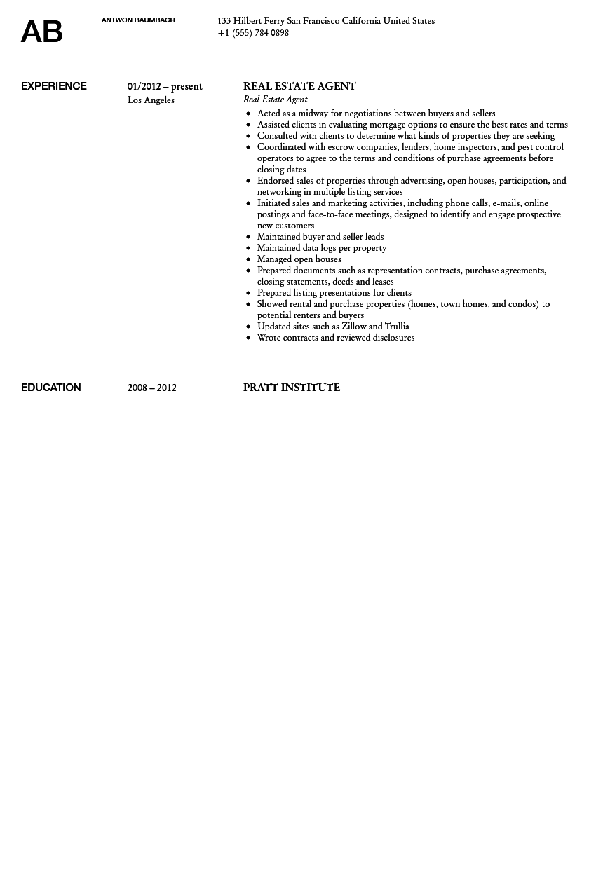 Real Estate Agent Resume Sample  Resume For Real Estate Agent