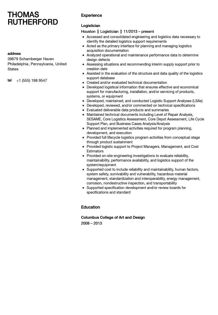 Logistician Resume Sample