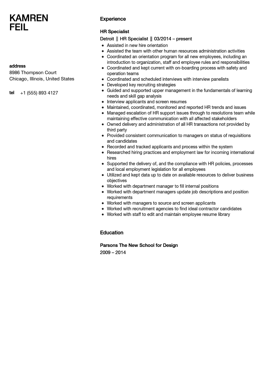 HR Specialist Resume Sample