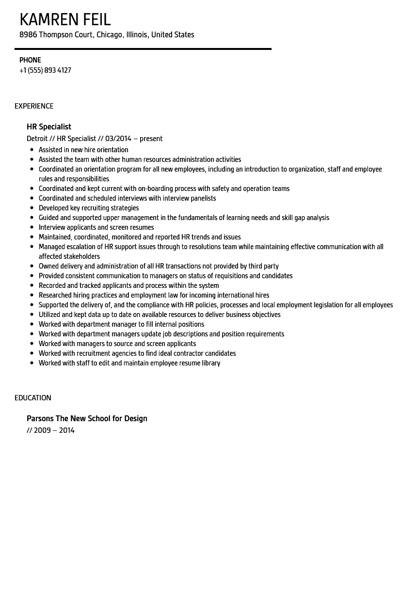 HR Specialist Resume Sample Velvet Jobs