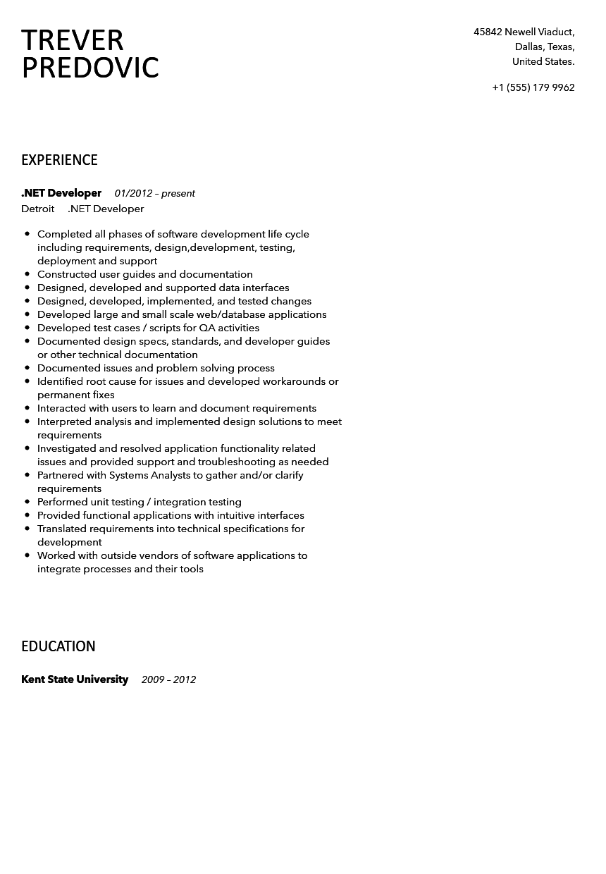 net developer resume sample - Net Developer Resume