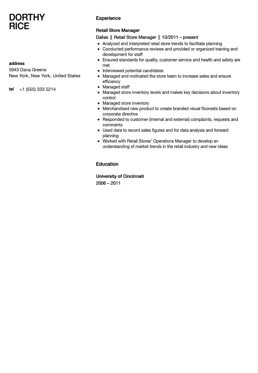 Retail Store Manager Resume Sample