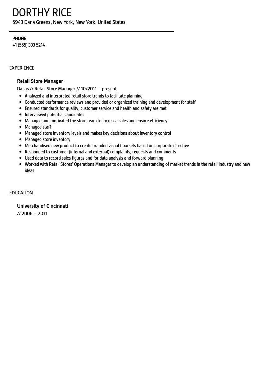 Retail Store Manager Resume Sample | Velvet Jobs