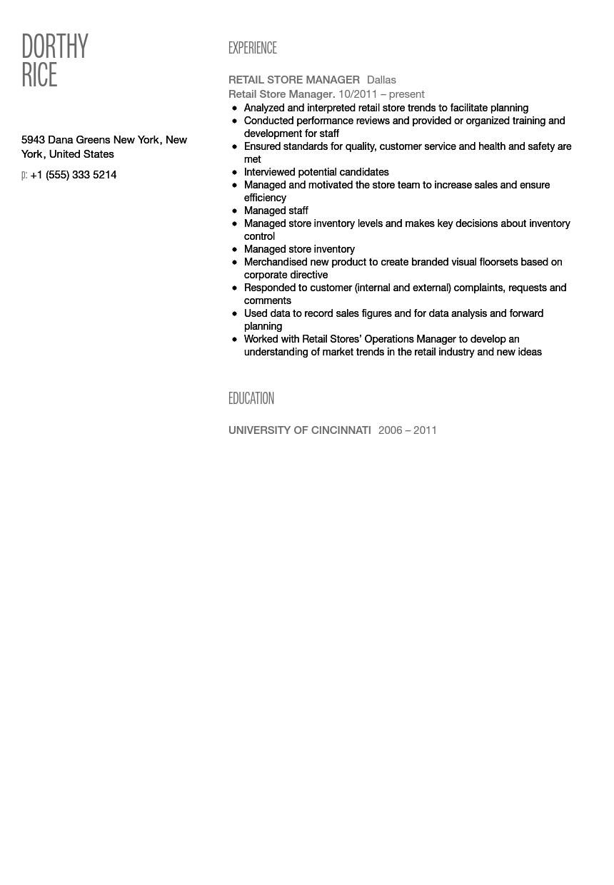 retail store manager resume sample - Retail Store Manager Resume Examples