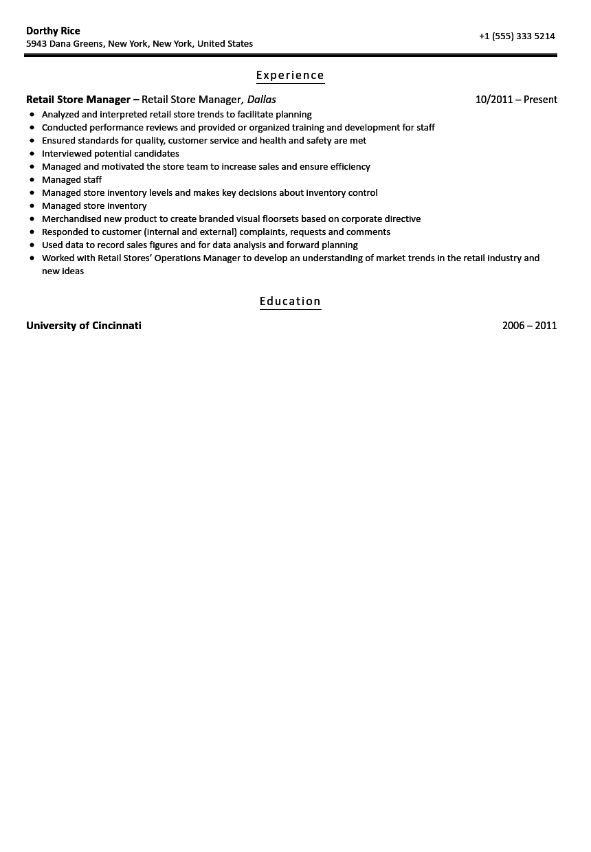 Retail Store Manager Resume Sample Velvet Jobs