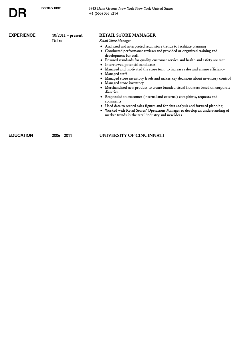 Retail Store Manager Resume Sample  Sample Retail Manager Resume
