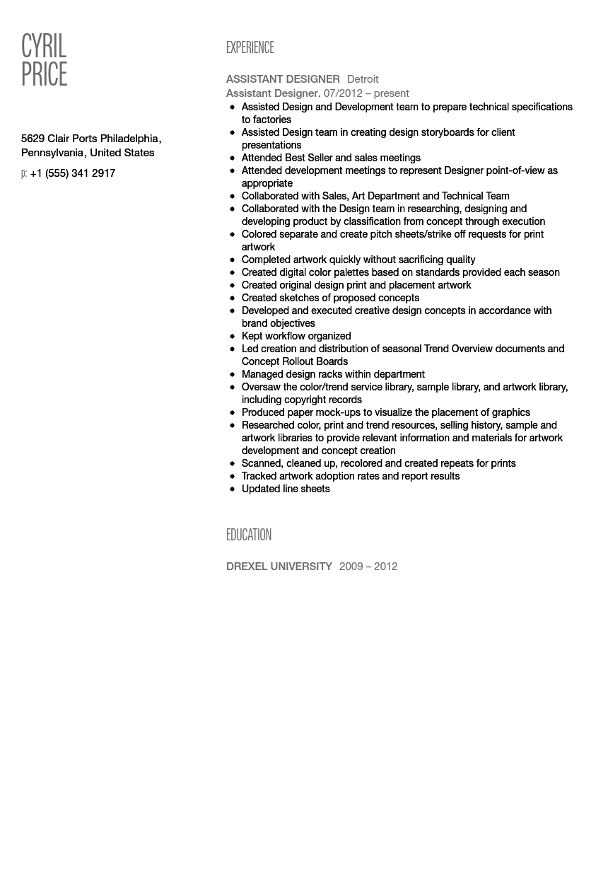 Design Assistant Resume Sample