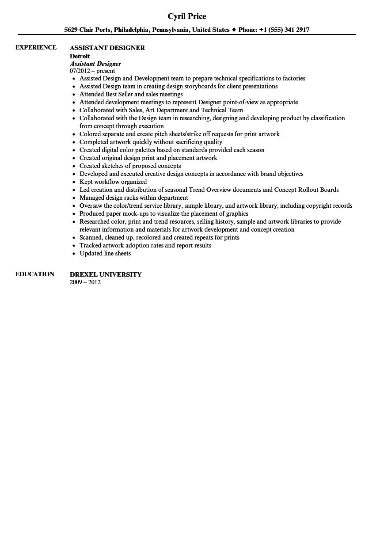 design assistant resume sample