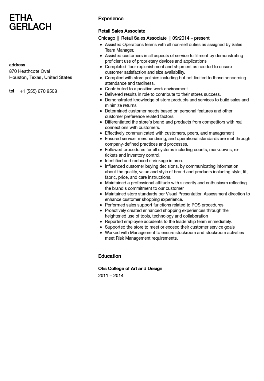 Sales Associate Resume Sample  Retail Sales Associate Resume Example