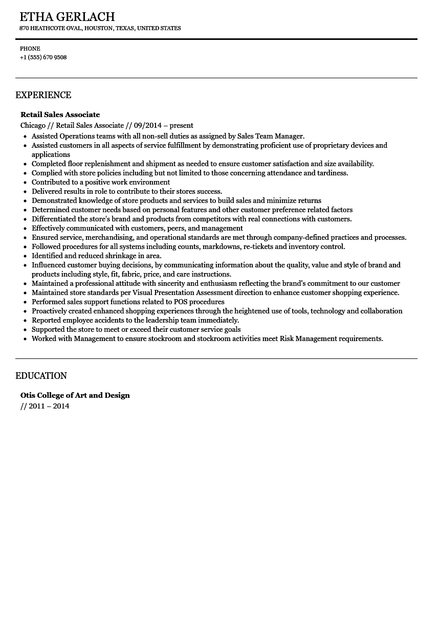 Sales Associate Resume Sample Velvet Jobs