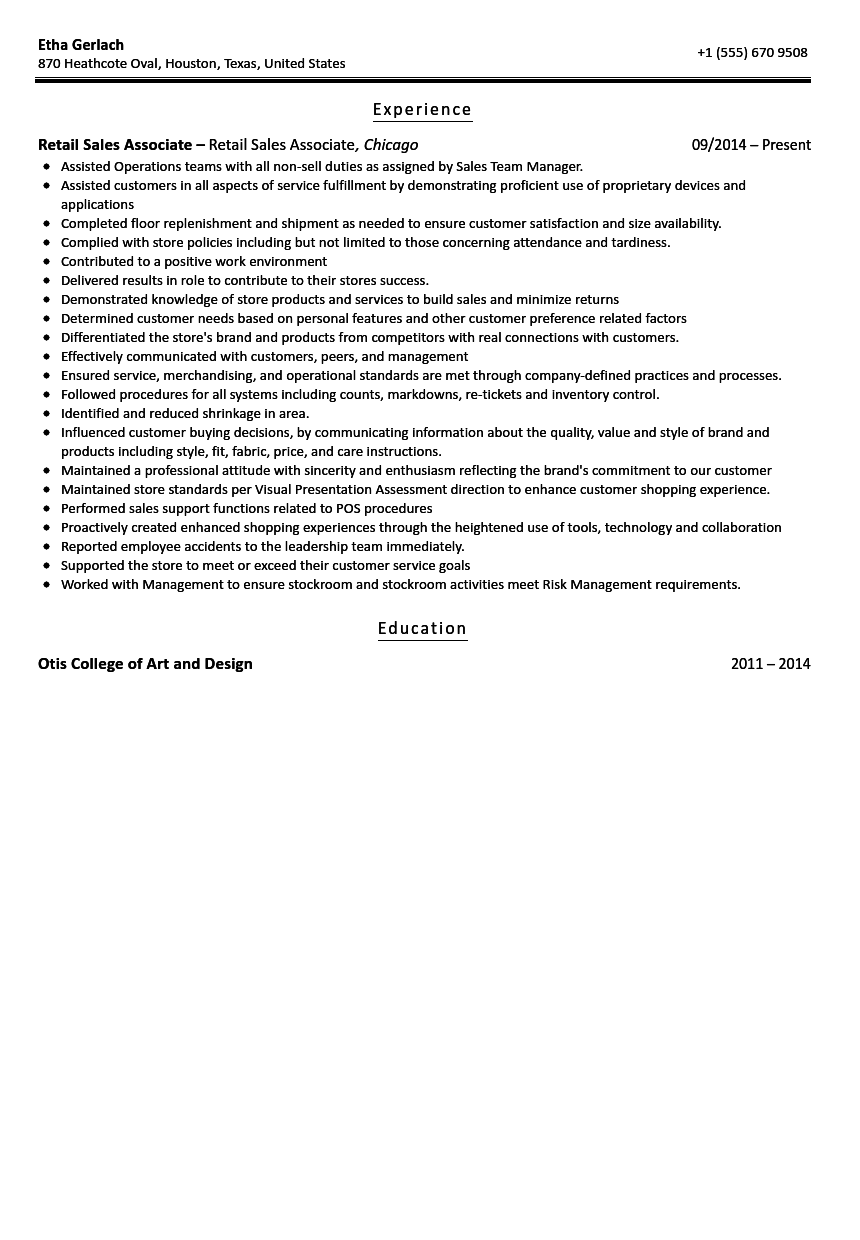 Sales Associate Resume Sample  Sample Resume For Sales Associate