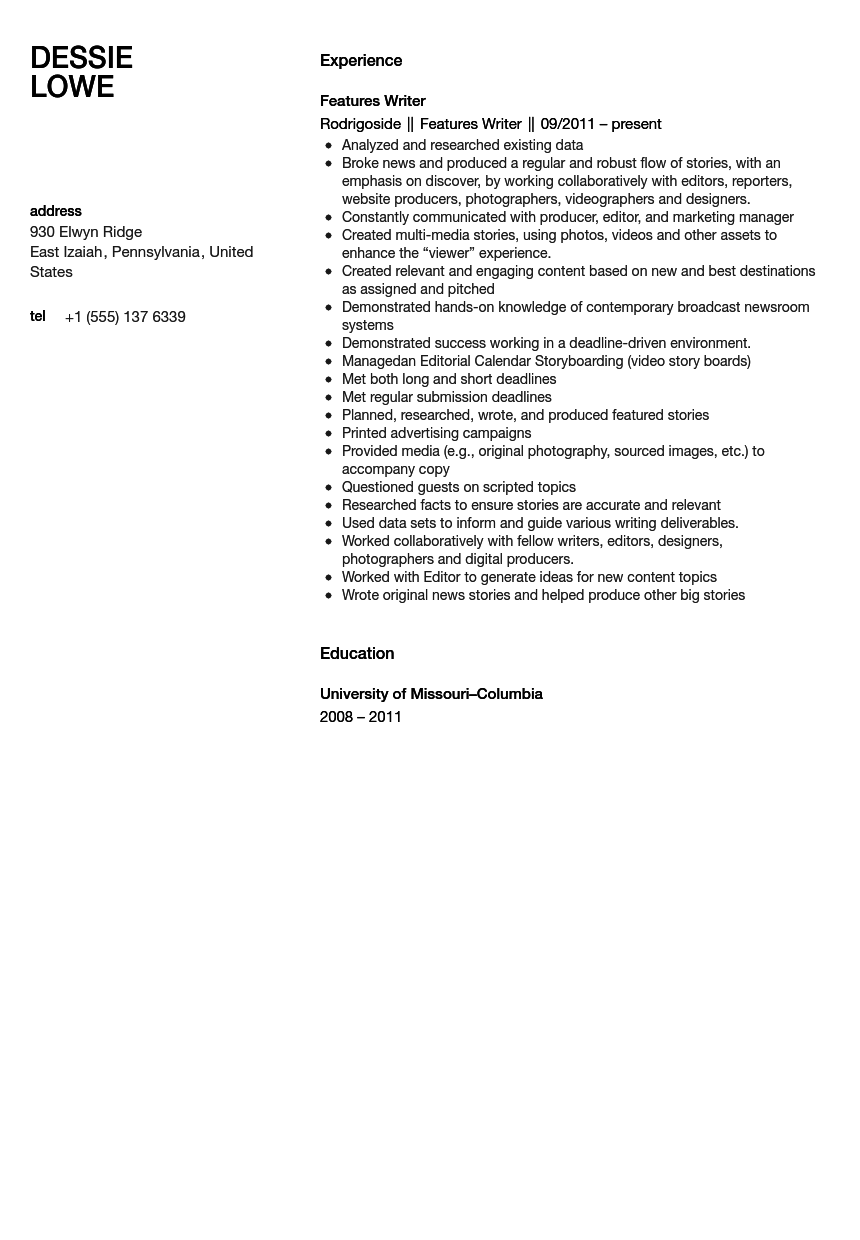 Features Writer Resume Sample