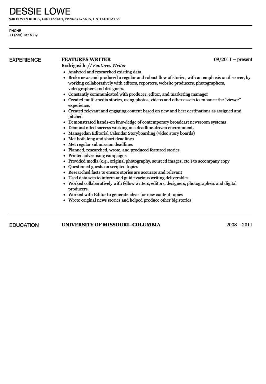Features Writer Resume Sample Velvet Jobs