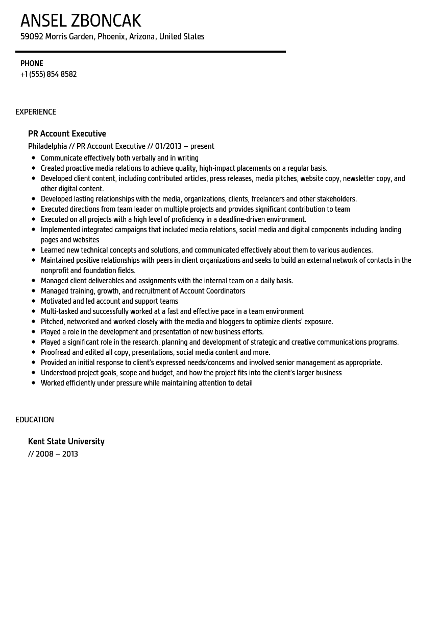 Public Relations Account Executive Resume Sample