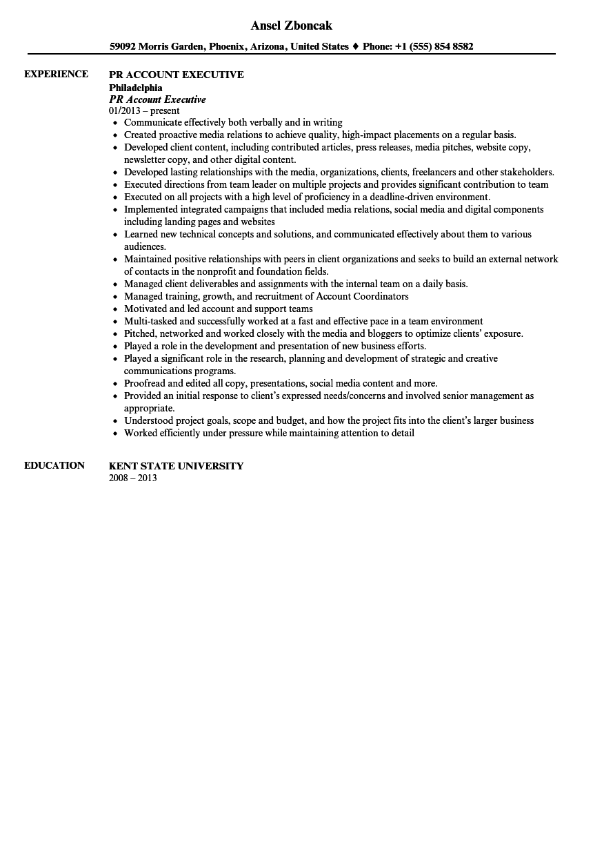 public relations account executive resume sample - Executive Resume Sample