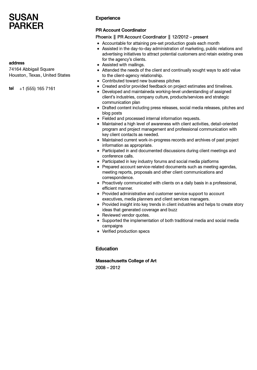 Public Relations Account Coordinator Resume Sample  Pr Resume Examples